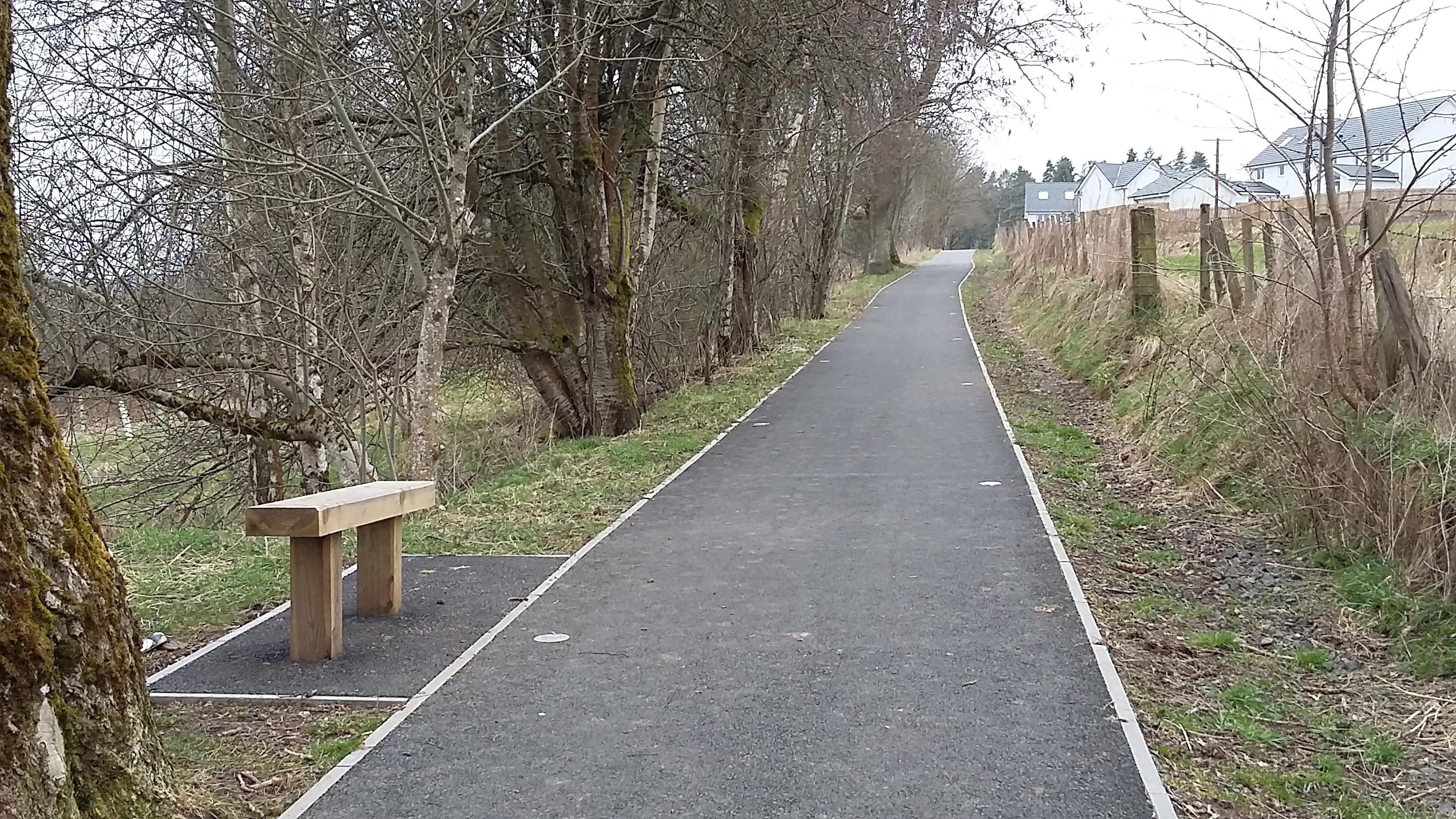 New bench and solar panels installed on upgraded Provost Walk, Auchterarder