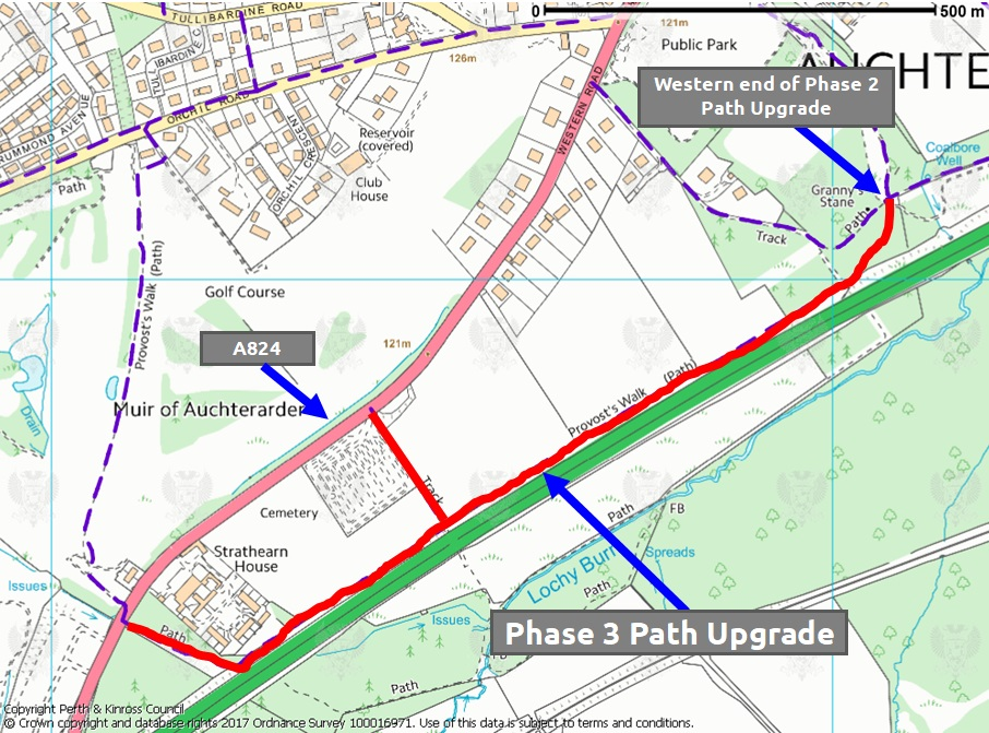 Map of planned Provost Walk phase 3 path upgrades