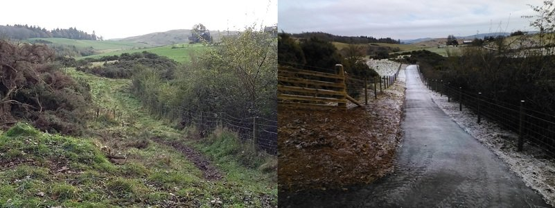 Coronation Road at Northlees path before and after path improvement works
