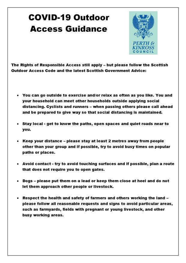Perth & Kinross Council Covid-19 Outdoor Acess Guidance