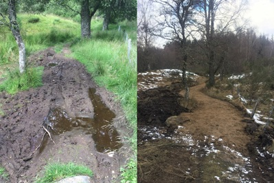 Before and after path improvements Cateran Trail at Loch Cottage