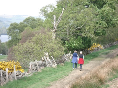 Walkers on Loch of the Lowes Path
