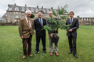 PKCT Trustee Neil Kirkpatrick,  FCS Head of Policy and Practice Jim Dewar, Co-ordinator of the ICCP Martin Gardner, and Gleneagles Hotel managing Director Bernard Murphy with the new Japanese Ce
