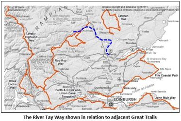 The River Tay Way shown in relation to adjacent Great Trails