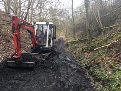 Digger working to upgrade the railway path near Aberfeldy