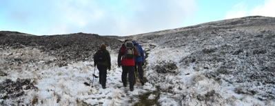 Walkers on Cateran Trail at Glenshee in winter