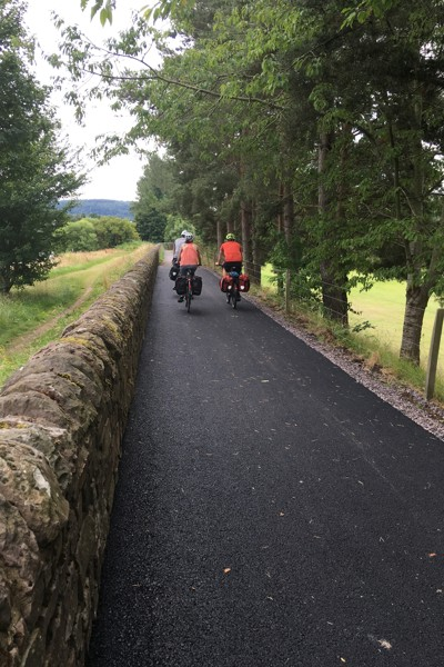 Cyclists using newly upgraded NCN 77 active travel route at North Inch
