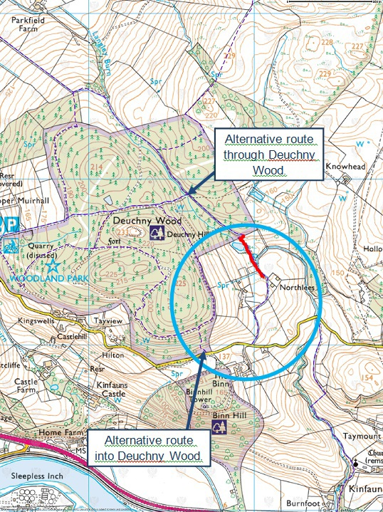 Map: Notice of temporary path closure on Northlees section of Coronation Road WCAR/55 and alternative routes