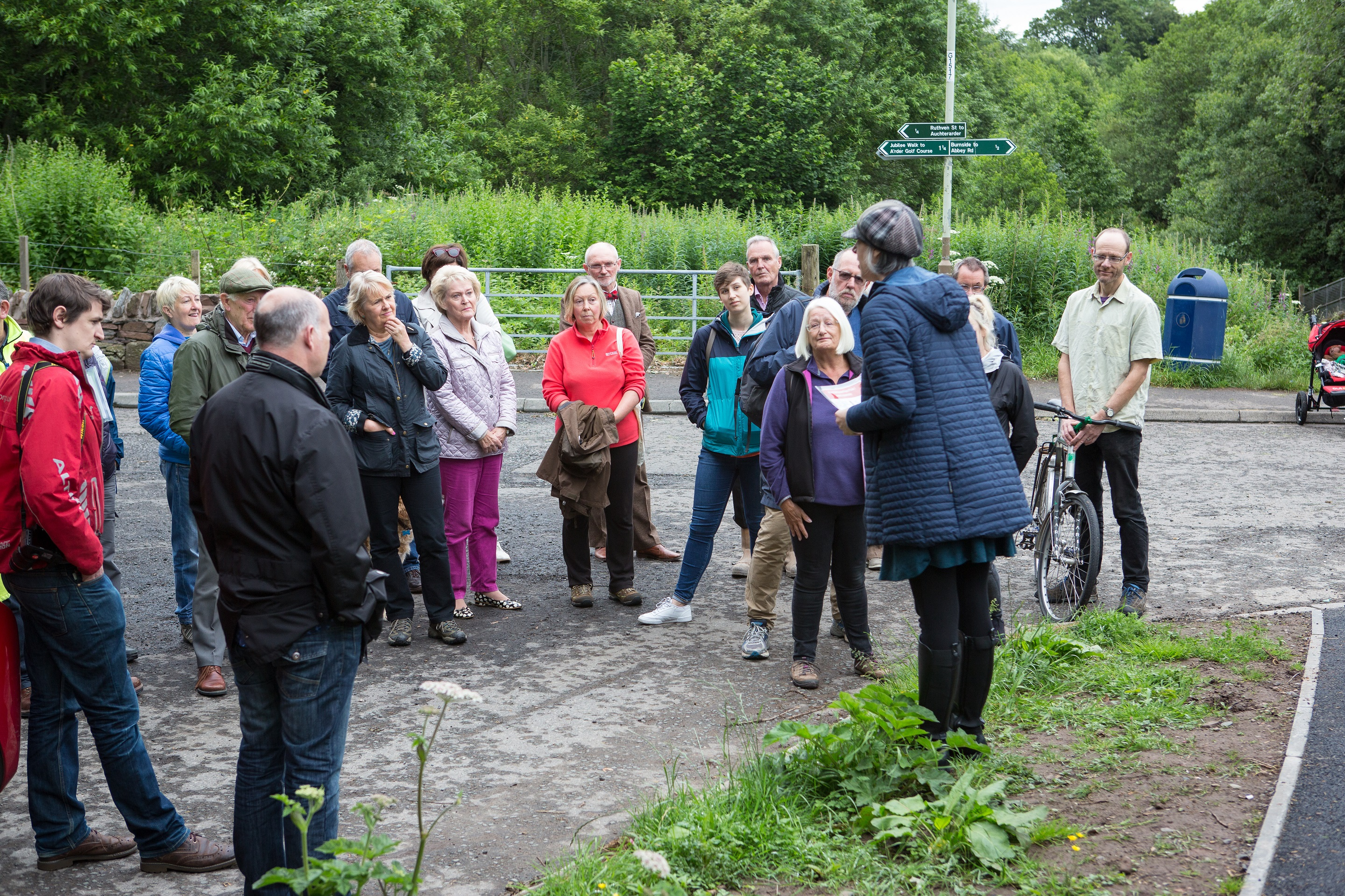 PKCT Manager Morag Watson addresses and thanks representatives from Provost Walk phase one funders (including SUSTRANS and Tactran), MSP Roseanna Cunningham, Auchterarder Core Paths Working Group, contractors and Perth & Kinross Council, among others