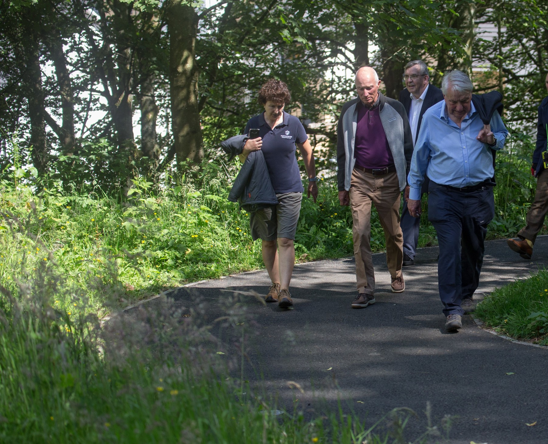 Three PKCT Trustees at Provost Walk Opening 3 July 2019  Left to right: Bid Strachan (PKCT Communities Officer) and PKCT Board members Cedric Wilkins (Chair), Cllr Stewart Donaldson and Alastair Dorward