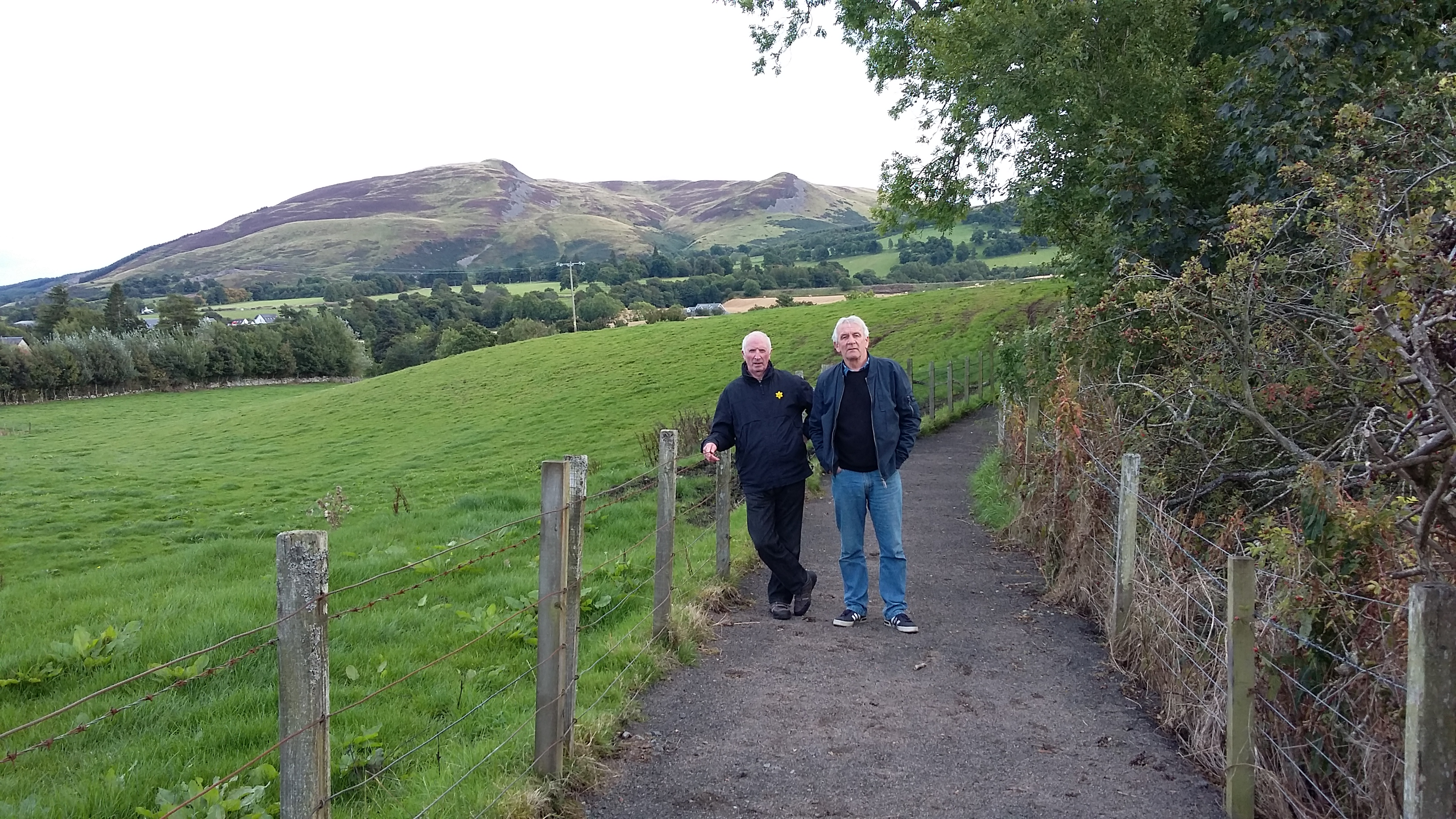 John Hally of the Feus and George Lawrence of Auchterarder on the newly opened Common Loan path
