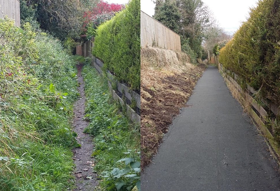 Black Road path before after path improvement works