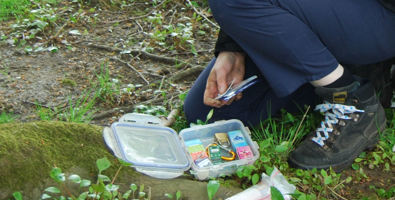 Close up of geocache