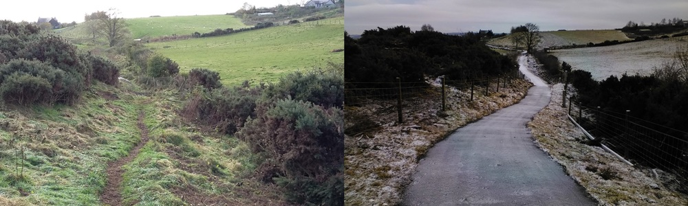 1)	Coronation Road at Northlees path before and after path improvement works