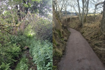 Before and after path improvements Cateran Mini Trail Kirkmichael to Lair