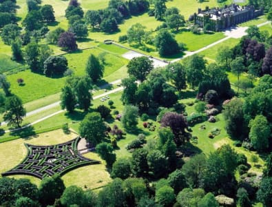 Aerial view of Scone Palace grounds and maze © Scone Palace