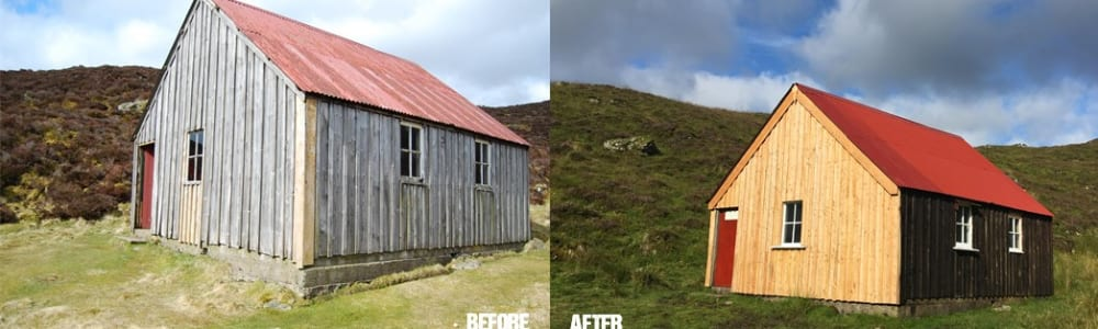Upper Lunch Hut before and after repair works ©PKCT