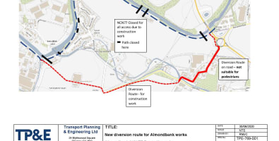 Path diversion map Almondbank - NCN 77 Upgrade Project - updated 2